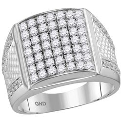 2 & 1/4 CTW Mens Round Pave-set Diamond Square Cluster Textured Ring 10kt White Gold - REF-137N9Y