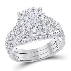 1 & 1/2 CTW Princess Diamond Bridal Wedding Engagement Ring 14kt White Gold - REF-143T9K