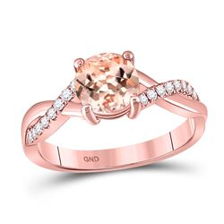 1 & 1/3 CTW Round Morganite Solitaire Ring 10kt Rose Gold - REF-39M5A