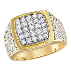 1 & 3/4 CTW Mens Round Diamond Square Cluster Honeycomb Ring 14kt Yellow Gold - REF-126K3R