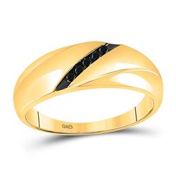 1/8 CTW Mens Round Black Color Enhanced Diamond Ring 10kt Yellow Gold - REF-19N2Y