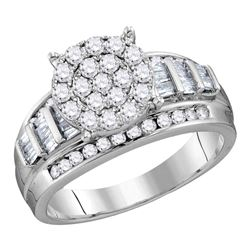 2 CTW Round Diamond Cluster Bridal Wedding Engagement Ring 10kt White Gold - REF-107A9N