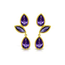 Genuine 13 ctw Amethyst Earrings 14KT Yellow Gold - REF-58P7H