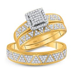 1/2 CTW His & Hers Round Diamond Square Matching Bridal Wedding Ring 10kt Yellow Gold - REF-46M8A