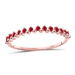 1/8 CTW Round Ruby Single Row Stackable Ring 10kt Rose Gold - REF-7N5Y