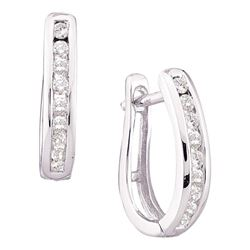 1/4 CTW Round Channel-set Diamond Oblong Hoop Earrings 10kt White Gold - REF-19A2N