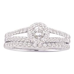 5/8 CTW Round Diamond Split-Shank Bridal Wedding Engagement Ring 14kt White Gold - REF-57W3F