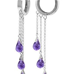 Genuine 4.8 ctw Amethyst Earrings 14KT White Gold - REF-64P4H