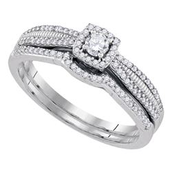 1/3 CTW Round Diamond Halo Bridal Wedding Engagement Ring 10kt White Gold - REF-35M9A