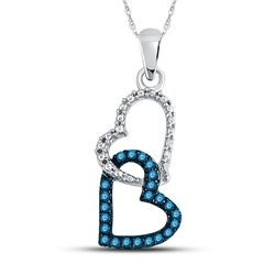 1/6 CTW Round Blue Color Enhanced Diamond Double Heart Dangle Pendant 10kt White Gold - REF-9W6F