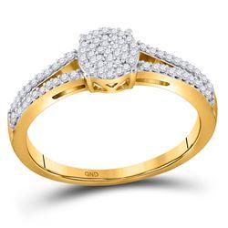 1/5 CTW Round Diamond Split-shank Circle Cluster Ring 10kt Yellow Gold - REF-14H4W