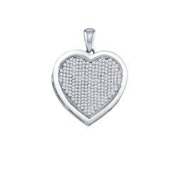 3/4 CTW Round Diamond Heart Pendant 10kt White Gold - REF-41N9Y