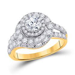2 CTW Round Diamond Halo Bridal Wedding Engagement Ring 14kt Yellow Gold - REF-264Y3X