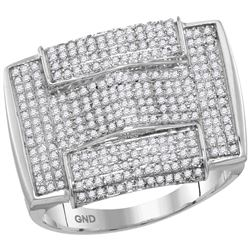 1 CTW Mens Round Pave-set Diamond Rectangle Arched Cluster Ring 10kt White Gold - REF-47Y9X