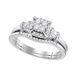 3/8 CTW Round Diamond Square Bridal Wedding Engagement Ring 10kt White Gold - REF-39A3N
