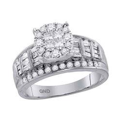 1 CTW Princess Round Diamond Cluster Bridal Wedding Engagement Ring 14kt White Gold - REF-71Y9X