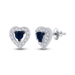1/5 CTW Round Blue Color Enhanced Diamond Heart Earrings 10kt White Gold - REF-13W2F