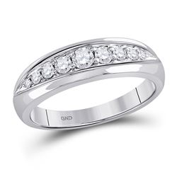 1/2 CTW Mens Round Diamond Single Row Ring 14kt White Gold - REF-39W6F