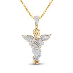 7/8 CTW Mens Round Diamond Praying Angel Wings Charm Pendant 10kt Yellow Gold - REF-47A9N