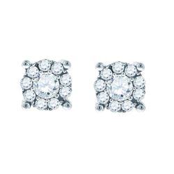 1 CTW Round Diamond Halo Earrings 14kt White Gold - REF-93N5Y