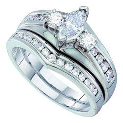 7/8 CTW Marquise Diamond Bridal Wedding Engagement Ring 14kt White Gold - REF-95W9F