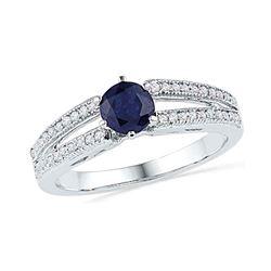 1 CTW Round Lab-Created Blue Sapphire Solitaire Split-shank Ring 10kt White Gold - REF-13N2Y