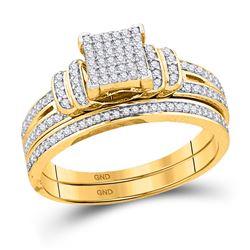 1/3 CTW Round Diamond Bridal Wedding Engagement Ring 10kt Yellow Gold - REF-27H5W