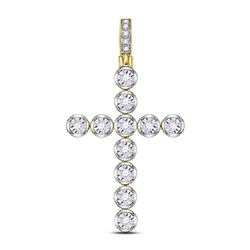 1/4 CTW Mens Round Diamond Cross Charm Pendant 10kt Yellow Gold - REF-24H3W