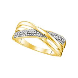 0.02 CTW Round Diamond Crossover Ring 10kt Yellow Gold - REF-11H9W