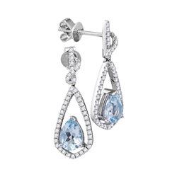 1 & 1/2 CTW Pear Natural Aquamarine Diamond Dangle Earrings 14kt White Gold - REF-76M8A