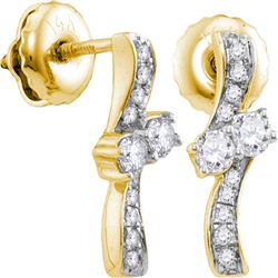 1/4 CTW Round Diamond 2-stone Hearts Together Screwback Stud Earrings 14kt Yellow Gold - REF-24T3K