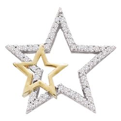 1/6 CTW Round Diamond Star Pendant 10kt Two-tone Gold - REF-11X9T
