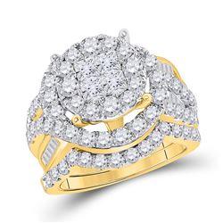 3 CTW Princess Round Diamond Bridal Wedding Engagement Ring 14kt Yellow Gold - REF-258Y3X
