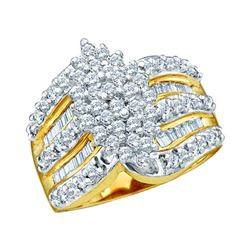 1 CTW Round Diamond Oval-shape Cluster Ring 10kt Yellow Gold - REF-44A4N