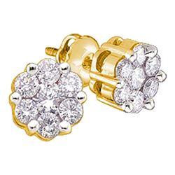 1 CTW Round Diamond Flower Cluster Stud Earrings 14kt Yellow Gold - REF-71X9T