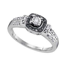 1/5 CTW Round Diamond Solitaire Black Color Enhanced Ring 10kt White Gold - REF-18M3A