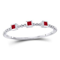 1/20 CTW Princess Ruby 3-Stone Beaded Stackable Ring 10kt White Gold - REF-5X9T