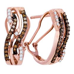1/2 CTW Round Brown Diamond Striped Hoop Earrings 10kt Rose Gold - REF-30F3M