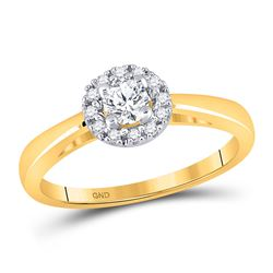 1/3 CTW Round Diamond Solitaire Bridal Wedding Engagement Ring 10kt Yellow Gold - REF-45X5T
