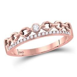 1/12 CTW Round Diamond Rolo Link Stackable Ring 10kt Rose Gold - REF-10N8Y