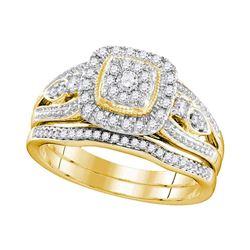 3/8 CTW Round Diamond Bridal Wedding Engagement Ring 10kt Yellow Gold - REF-47X9T