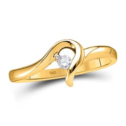 1/20 CTW Round Diamond Solitaire Promise Bridal Ring 10kt Yellow Gold - REF-9Y6X