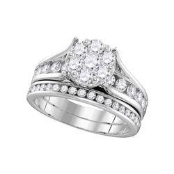 1 & 1/2 CTW Round Diamond Cluster Bridal Wedding Engagement Ring 14kt White Gold - REF-137H9W