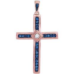 1/4 CTW Round Diamond Cross Pendant 10kt Rose Gold - REF-18Y3X