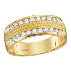 1/2 CTW Mens Round Diamond Double Row Hammered Wedding Ring 14kt Yellow Gold - REF-60N3Y