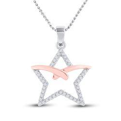 1/6 CTW Round Diamond Star Pendant 10kt Two-tone Gold - REF-10N2Y