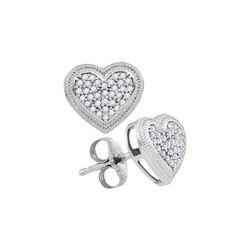 1/5 CTW Round Diamond Heart Cluster Earrings 10kt White Gold - REF-18T3K