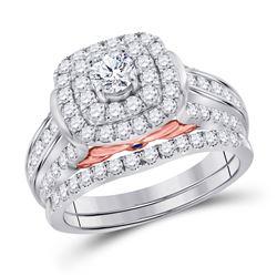2 CTW Round Diamond Halo Bridal Wedding Engagement Ring 14kt White Gold - REF-239M9A