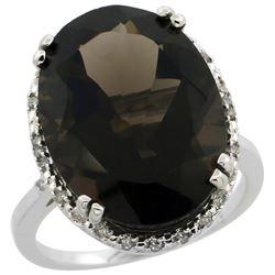 13.71 CTW Quartz & Diamond Ring 10K White Gold - REF-57M6A