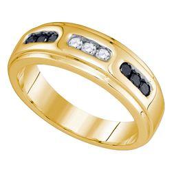 1/3 CTW Mens Round Black Color Enhanced Diamond Wedding Ring 10kt Yellow Gold - REF-30A3N